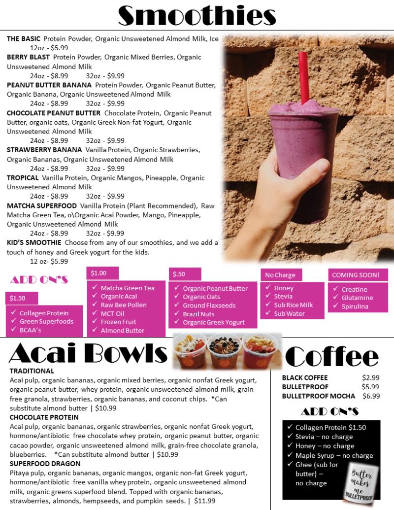 Smoothies, Acai Bowl, Coffee Bar